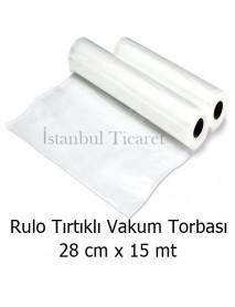 Rulo Tırtıklı (Gofrajlı) Vakum Torbası 28 cm x 15 mt