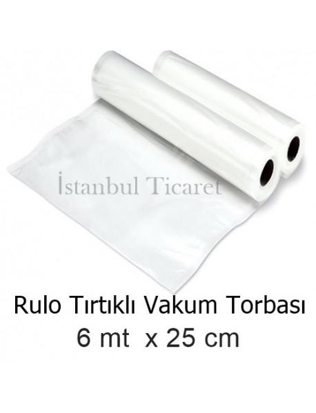 Rulo Tırtıklı (Gofrajlı) Vakum Torbası 25 cm x 6mt