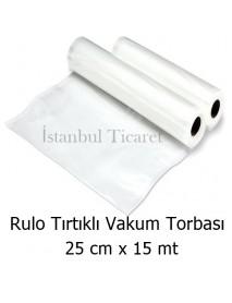 Rulo Tırtıklı (Gofrajlı) Vakum Torbası 25 cm x 15 mt